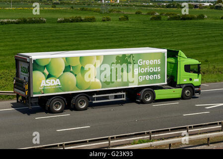 ASDA HGV travelling on the M56 motorway in Cheshire UK - Stock Image
