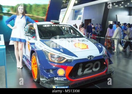 Greater Noida, India. 14th February 2018. Hyundai i20 Coupe WRC car is on display at the Auto Expo 2018 in Greater - Stock Image