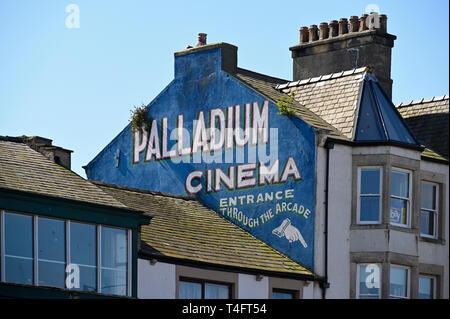Advertisment for the Palladium Cinema. Marine Drive,Morecambe, Lancashire, England, United Kingdom, Europe. - Stock Image