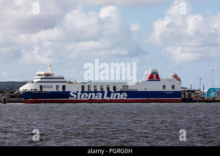 Stena Precision a roll on roll off cargo ship part of Stena Line berthed Birkenhead Ferry terminal on the River Mersey August 2018 - Stock Image
