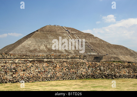 The Pyramid of the Sun Teotihuacan Mexico pre Aztec pyramid temples - Stock Image