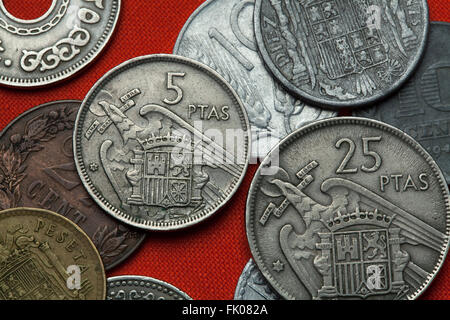 Coins of Spain under Franco. Coat of arms of Spain under Franco depicted in the Spanish five peseta coin (1957). - Stock Image