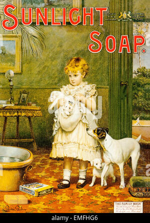 A Victorian advertisement for Sunlight Soap - Stock Image