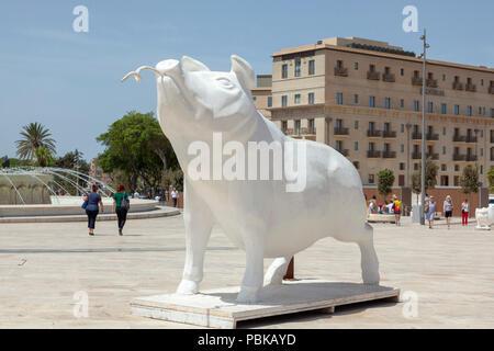 Boar Sculpture, Valletta Gate, Malta - Stock Image