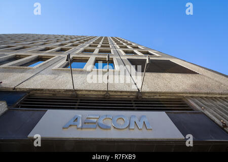 MONTREAL, CANADA - NOVEMBER 4, 2018: AECOM logo in front of their main office for Montreal, Quebec. AECOM is an American Engineering and Consulting fi - Stock Image