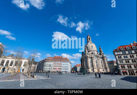 Dresden, Germany. 20th Mar, 2019. View to the Neumarkt with the Frauenkirche (r) and the traffic museum (l). Credit: Robert Michael/dpa-Zentralbild/ZB/dpa/Alamy Live News - Stock Image