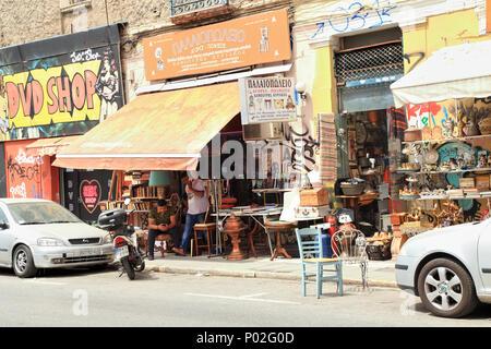 Flea market street, Athens - Stock Image