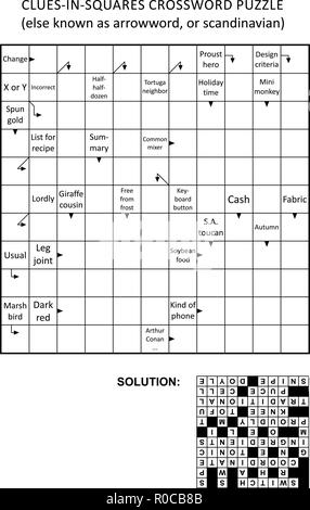 Clues-in-squares crossword puzzle, or arrow word puzzle, else arrowword, scandinavian, or scanword, skanword. General knowledge, non-themed. Solution included. - Stock Image