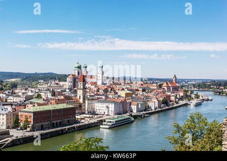 Passau Danube, Lower Bavaria, Germany - Stock Image