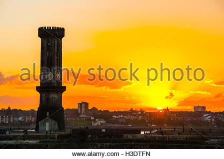 The Victorian Clock Tower at Salsibury Dock & Bramley Moore Dock, A grade one listed Gothic Revival Tower, opened - Stock Image
