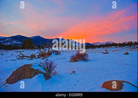 Rocky Mountain National Park, sunset, winter, Landscape, snow, - Stock Image