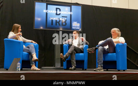 Rebecca Jackson interviews Richard Hammond and James May at the lecture Theatre, during  the London Motor Show 2018. - Stock Image