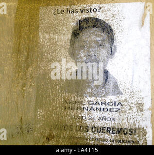 Mexico city, Mexico. 6th November, 2014. A portrait of missing student Abel Garc'a Hern‡ndez is displayed during - Stock Image