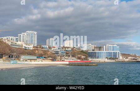 Odessa, Ukraine - 12.27.2018. Panoramic winter view of the coastal line in Odessa, Ukraine - Stock Image