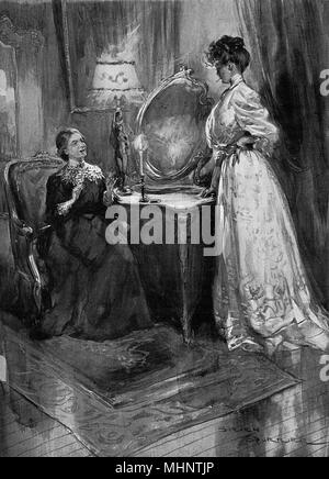 Illustration to a short story by E. F. Benson, 'The Puce Silk' illustrating the a young woman smoking a cigarette in front of her aunt.     Date: 1908 - Stock Image