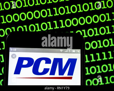 Ukraine. 16th Feb, 2019. PCM, Inc. direct marketing company logo seen displayed on a smart phone. Credit: Igor Golovniov/SOPA Images/ZUMA Wire/Alamy Live News - Stock Image