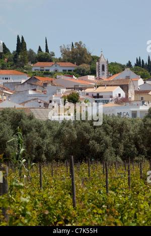Portugal, Algarve, Pademe, View of Village From Vineyard - Stock Image