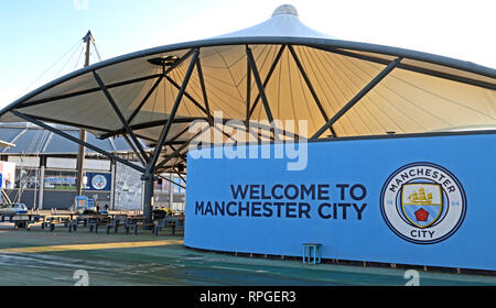 Welcome to Manchester City Football Club, North West England, UK - Stock Image