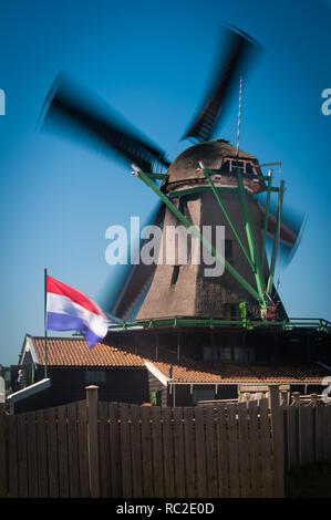 Dutch windmill at Zaanse Schans, Netherlands - Stock Image