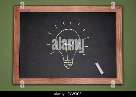 Idea concept. Lamp drawn on chalkboard on green background - Stock Image