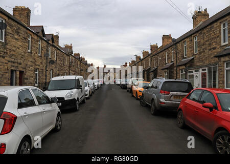 Cw 6565 Edwin Street Amble  Amble is a small town on the north east coast of Northumberland in North East England. It has some small streets. - Stock Image
