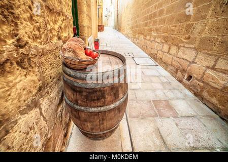 Victoria, Gozo island, Malta: medieval food in the Cittadella - Stock Image