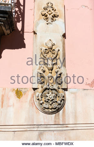 ornately carved stonework on a building in Caldas da Rainha Portugal - Stock Image