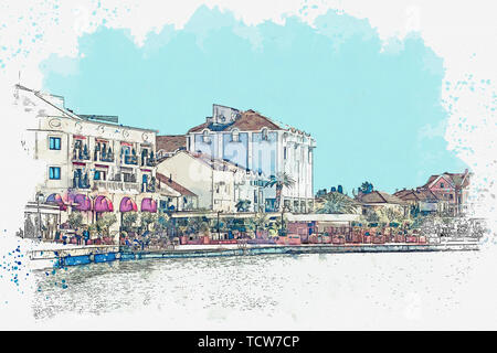 Watercolor sketch or illustration of a view of the embankment or promenade in Tivat in Montenegro. A small coastal tourist town. - Stock Image