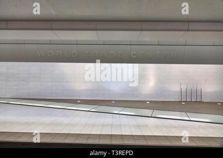 World Trade Center PATH empty platform - Stock Image