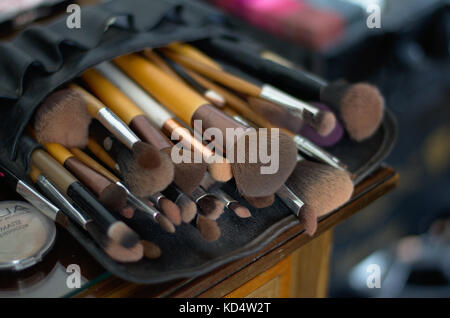 Pile of make-up brushes - Stock Image