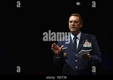 Air Force Gen. Joseph Lengyel, chief, National Guard Bureau, addresses National Guard leader at the National Guard Association of the United States 140th General Conference, New Orleans, Louisiana, Aug. 26, 2018. (U.S. Army National Guard photo by Sgt. 1st Class Jim Greenhill) - Stock Image