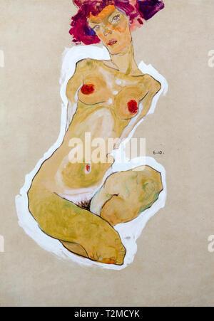 Egon Schiele, Squatting Female Nude, painting, 1910 - Stock Image