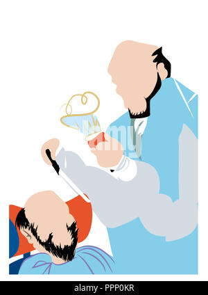 Senior barber ready to shave.  Old  barber holding a razor and about to shave a man's beard. - Stock Image