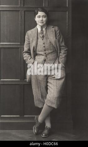 Portrait of woman dressed in men's clothing, 1920s - Stock Image