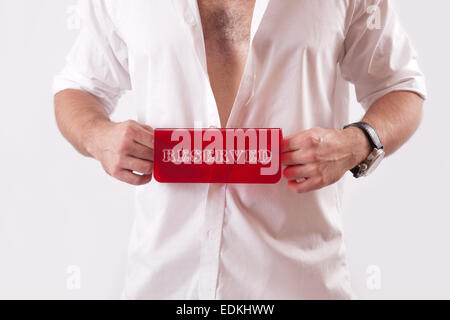 Man with a sign reserve in his hands - Stock Image