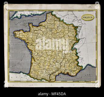 1804 Arrowsmith Map - France - Paris Lyon Tours Nice Marseilles Europe - Stock Image