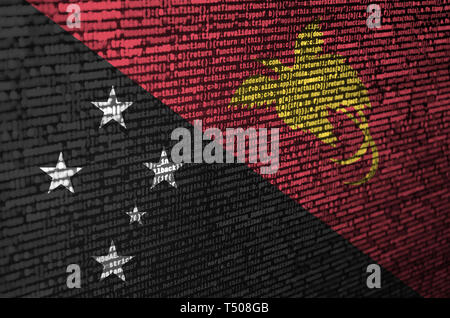 Papua New Guinea flag  is depicted on the screen with the program code. The concept of modern technology and site development. - Stock Image