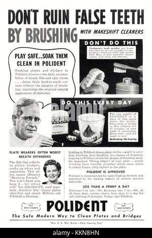 1943 U.S. Magazine Polident Denture Cleaner Ad - Stock Image