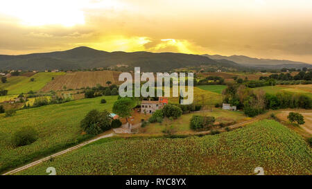 Aerial view of Umbria / Toscane landscape, Italy - Stock Image