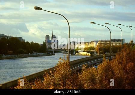 View Over the River Seine From the Pont Bir Hakim Bridge, Paris, France - Stock Image