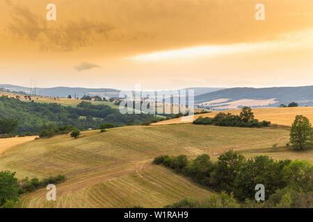 Vibrant Evening Sunset in Czech countryside - Stock Image