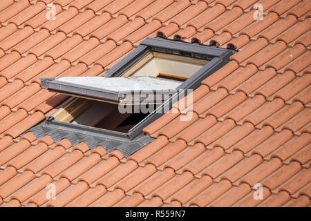 Roof with vasistas or velux windows . - Stock Image
