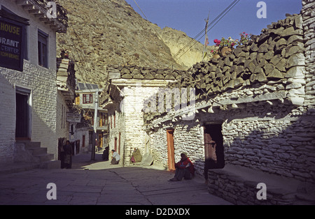 White washed buildings on main street of Marpha in Kali Gandaki valley on Annapurna circuit Nepal with firewood - Stock Image