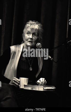 Peggy Seeger being interviewed at Seachange festival, UK. 2019 - Stock Image