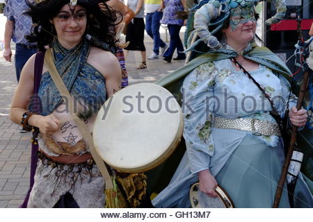Nottingham, England. 07 August 2016  Pagan Pride parade sets off from Smithy Row by the Council House in Nottingham - Stock Image