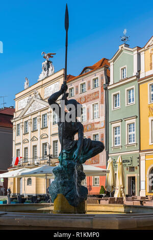 Poland Baroque, view of the Mars Fountain (Fontanna Marsa) and Baroque buildings in the north-west corner of the Old Town Square in Poznan, Poland. - Stock Image