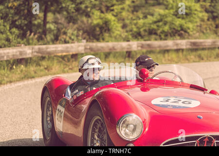 MASERATI A6GCS/53 FANTUZZI 1954 on an old racing car in rally Mille Miglia 2018 the famous italian historical race (1927-1957) - Stock Image