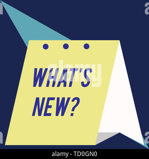 Writing note showing What S New Question. Business concept for Asking about latest Updates Trends Happening News Modern fresh and simple design of cal - Stock Image