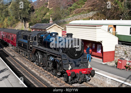 76079 Standard class steam train at the railway station Goathland North York Moors National Park North Yorkshire England UK Great Britain - Stock Image