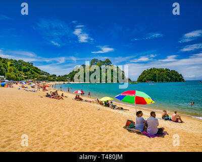 13 January 2019: Tasman, New Zealand - Gateway to Abel Tasman National Park, Kaiteriteri Beach is famous for its golden sand and turquoise water. - Stock Image
